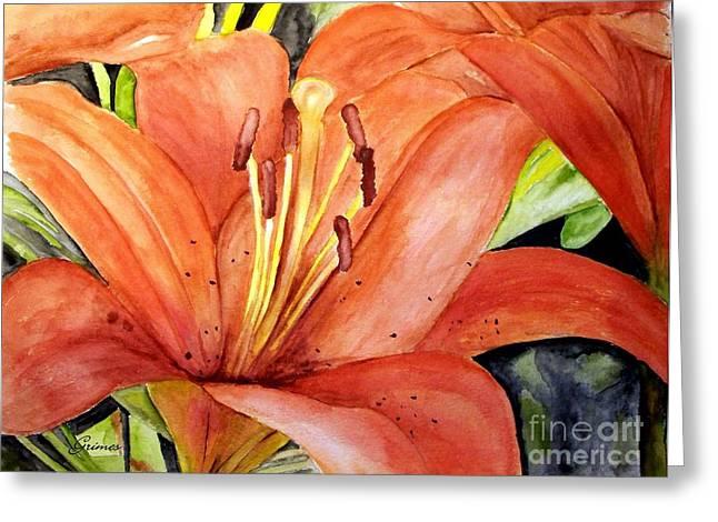 Large Orange Lily Greeting Card by Carol Grimes