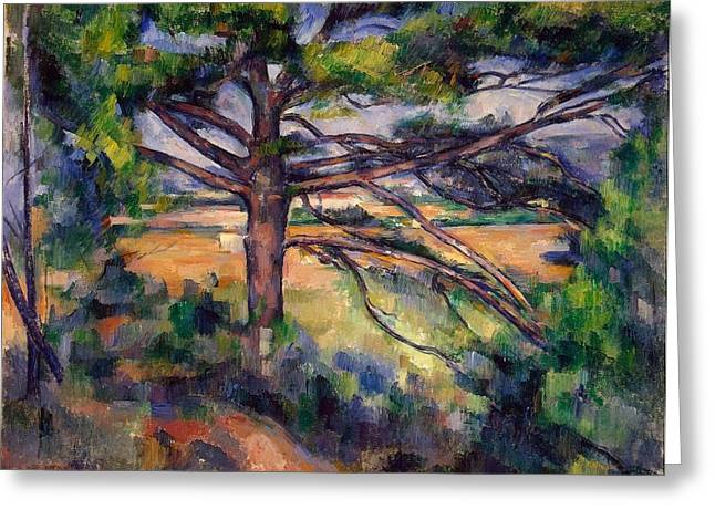 Large Pine And Red Earth Greeting Card by Paul Cezanne