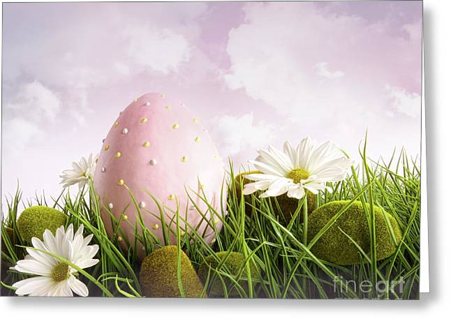 Large Pink Easter With Flowers In Tall Grass Greeting Card by Sandra Cunningham