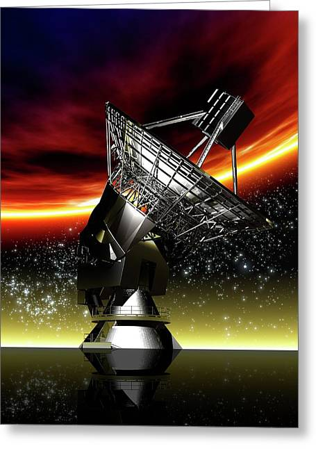 Large Radio Telescope Greeting Card by Victor Habbick Visions