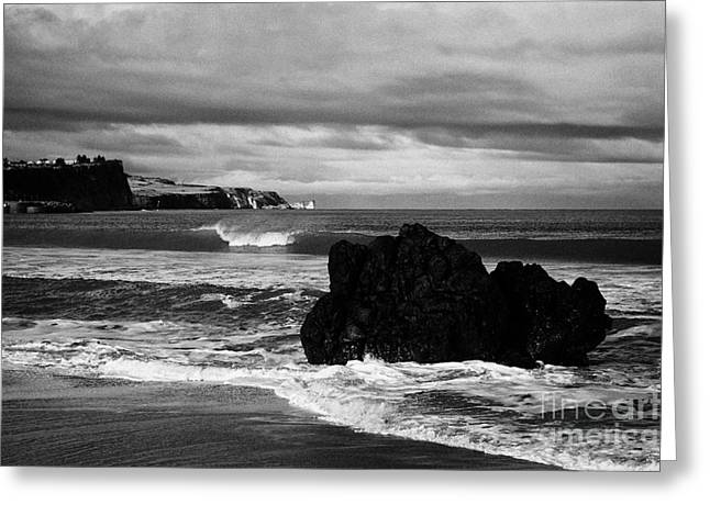 Large Rock On Ballycastle Beach In Winter County Antrim Northern Ireland Greeting Card
