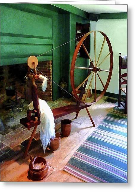 Large Spinning Wheel Greeting Card by Susan Savad