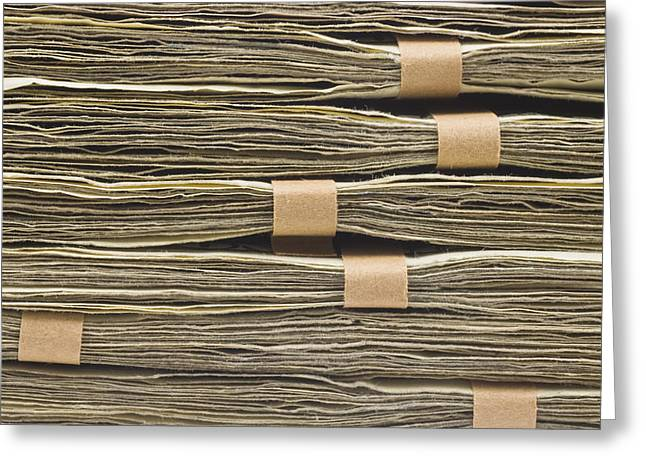 Large Stack Of American Cash Money Greeting Card by Keith Webber Jr
