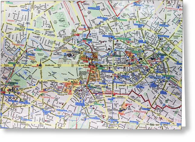 Large Street Map And Infopunkt Greeting Card