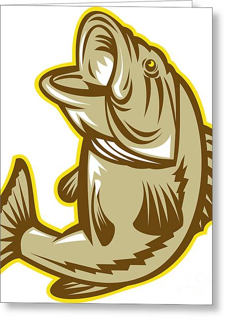 Largemouth Bass Fish Jumping Retro Greeting Card by Aloysius Patrimonio