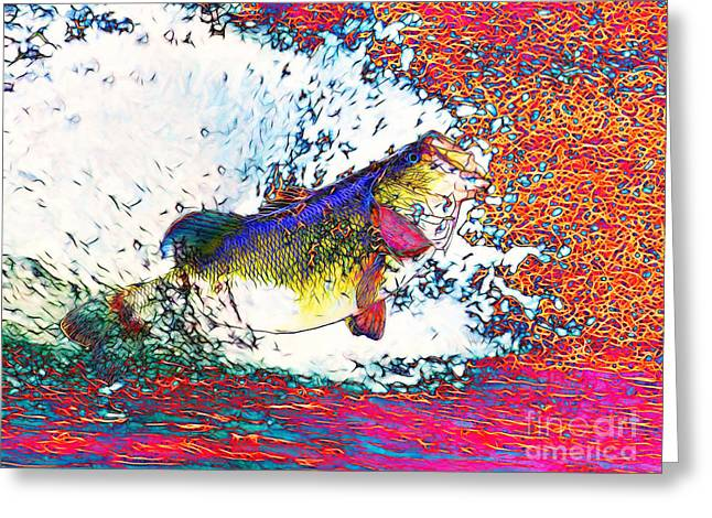 Largemouth Bass Greeting Card by Wingsdomain Art and Photography