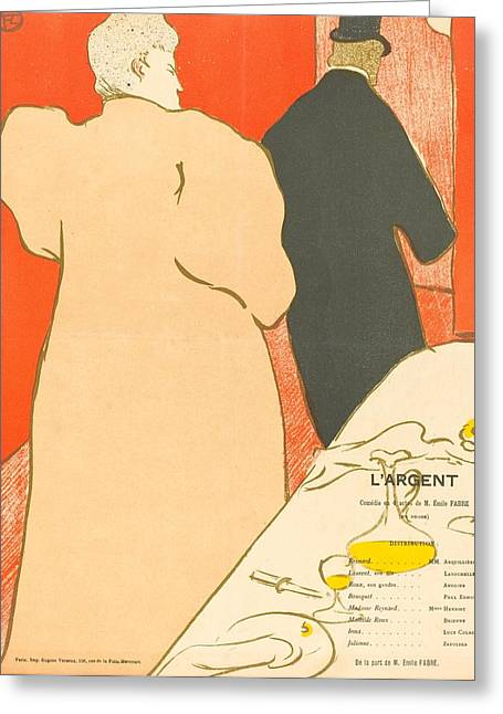 L'argent Greeting Card by Toulouse-Lautrec