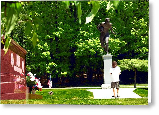 Larger Than Life - Jim Thorpe Monument Greeting Card by Jacqueline M Lewis