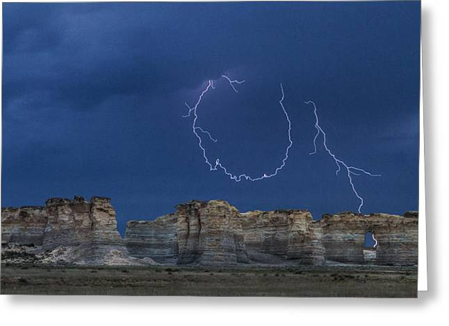 Lariat Lightning At Monument Rocks Greeting Card