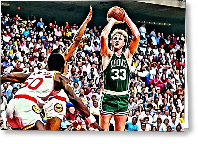 Greeting Card featuring the painting Larry Bird by Florian Rodarte