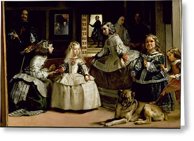 Las Meninas, Detail Of The Lower Half Depicting The Family Of Philip Iv Of Spain, 1656 Greeting Card by Diego Rodriguez de Silva y Velazquez