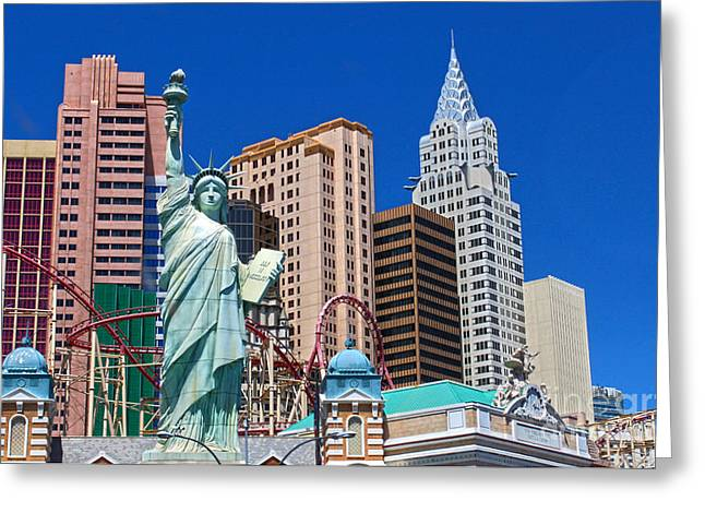 Las Vegas - New York Greeting Card by Gregory Dyer