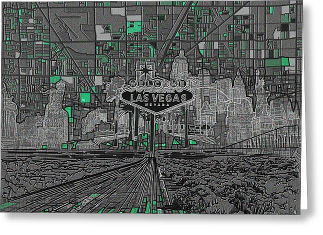 Las Vegas Abstract Map Greeting Card by Bekim Art