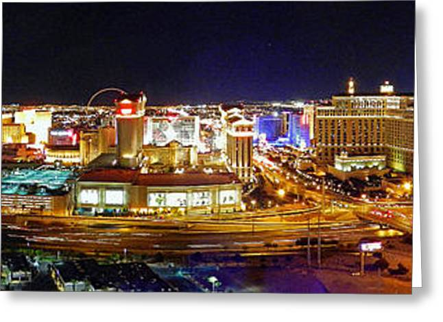 Las Vegas At Night - Panorama Greeting Card
