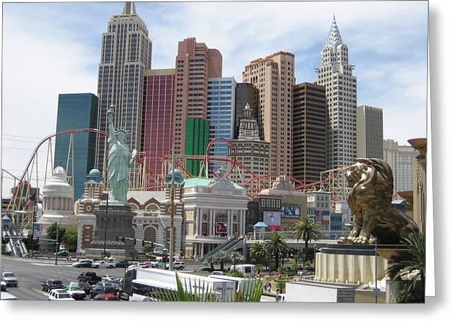Las Vegas - New York New York Casino - 12121 Greeting Card by DC Photographer