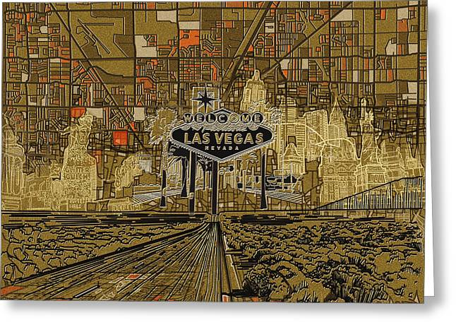 Las Vegas Skyline Abstract 2 Greeting Card by Bekim Art
