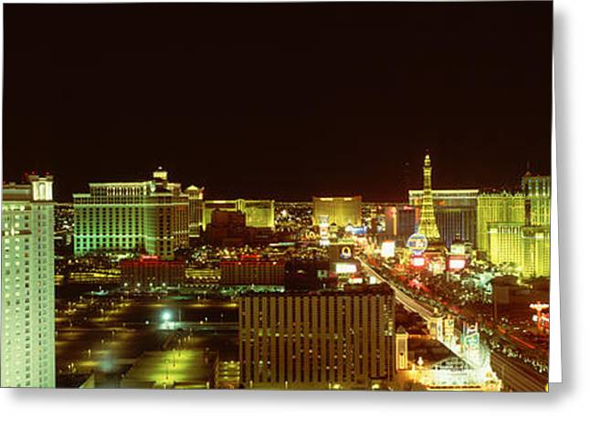 Las Vegas Strip At Night Las Vegas Nv Greeting Card by Panoramic Images
