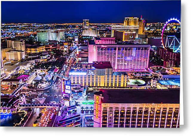 Las Vegas Strip North View 3 To 1 Aspect Ratio Greeting Card