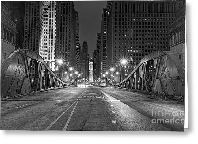 Lasalle St - Chicago Greeting Card by Jeff Lewis