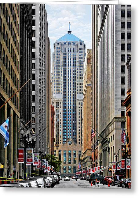Lasalle Street Chicago - Wall Street Of The Midwest Greeting Card by Christine Till