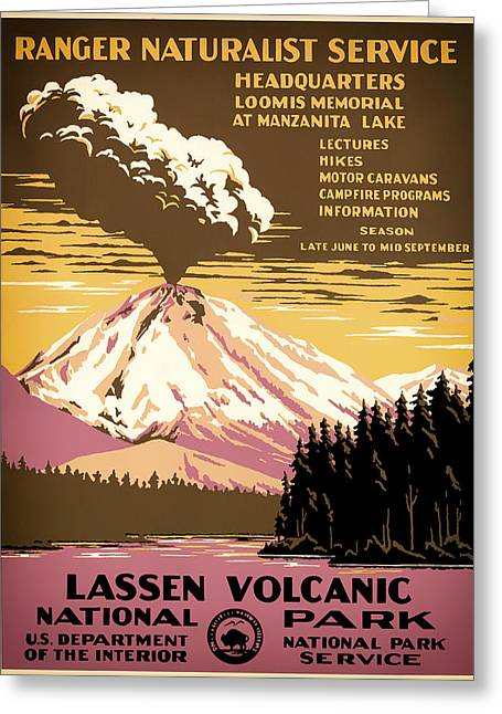 Lassen Volcanic National Park Travel Poster 1938 Greeting Card