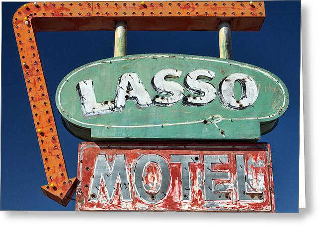 Lasso Motel Sign On Route 66 Greeting Card by Carol Leigh