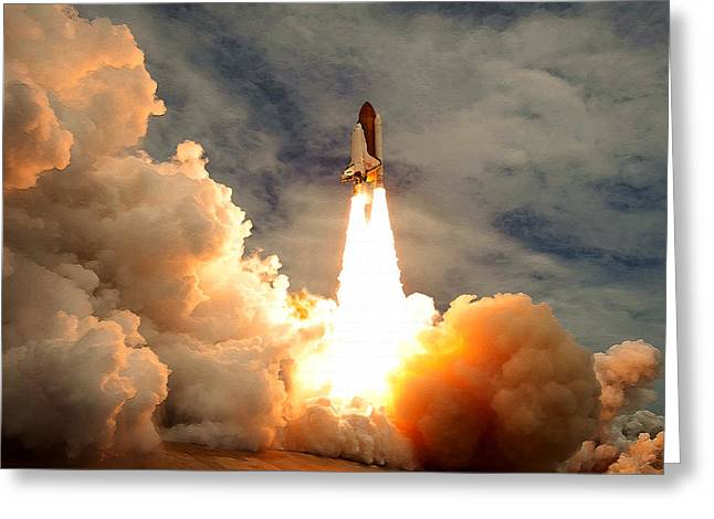 Last Blast - Final Space Shuttle Mission Greeting Card by Brad Fenichel