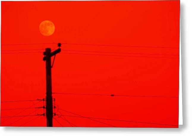 Red Moon Rising Greeting Card by See My  Photos