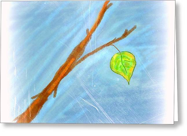 Last Leaf Greeting Card by Chandana Arts