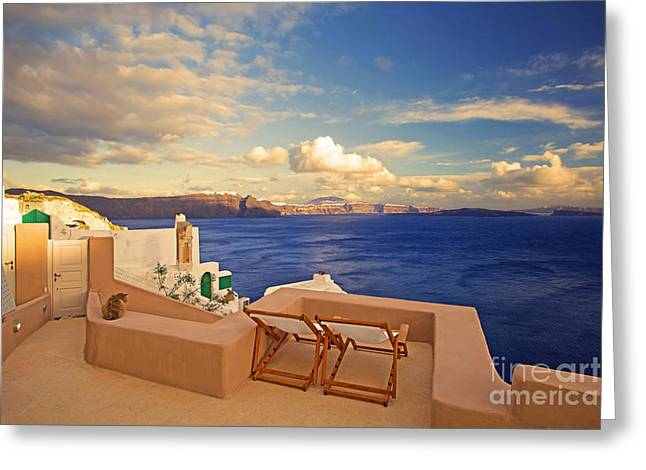 Last Light Greeting Card by Aiolos Greek Collections