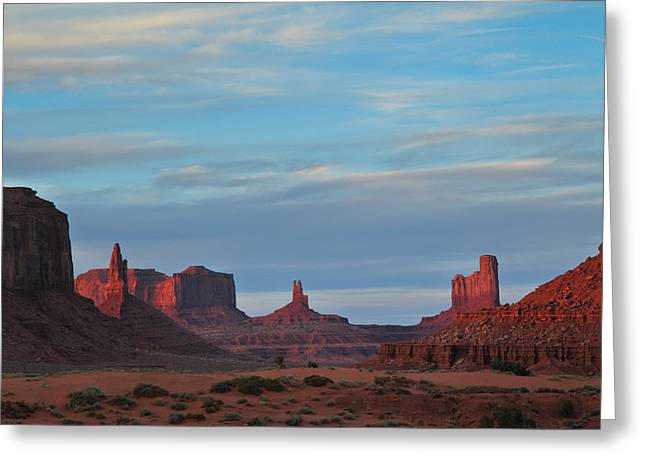 Greeting Card featuring the photograph Last Light In Monument Valley by Alan Vance Ley