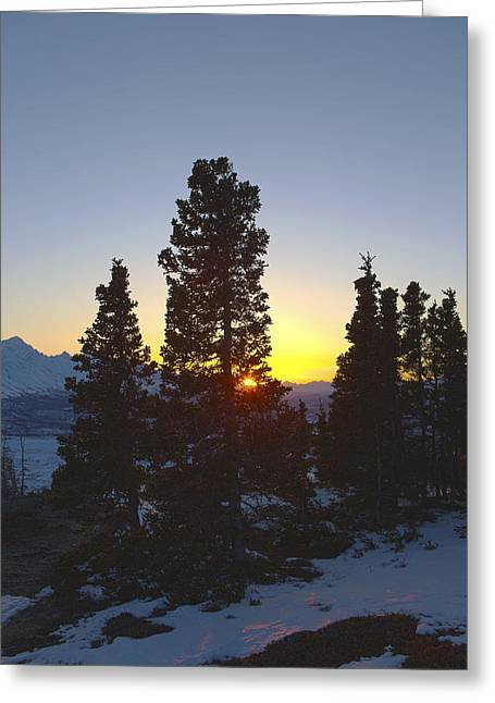 Last Light In The Mountains Greeting Card by Tim Grams