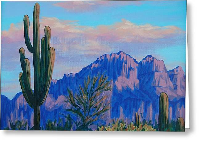 Last Light On The Superstitions Greeting Card