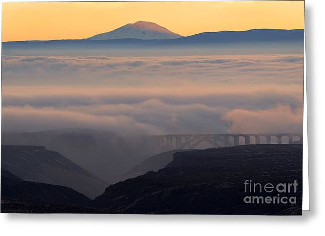 Last Light Over Mt. Adams Greeting Card by Mike Dawson