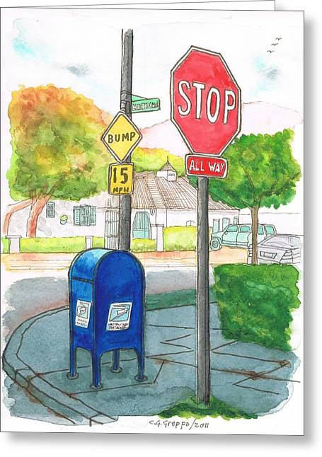 Last Mailbox In Toluca Lake, California Greeting Card by Carlos G Groppa