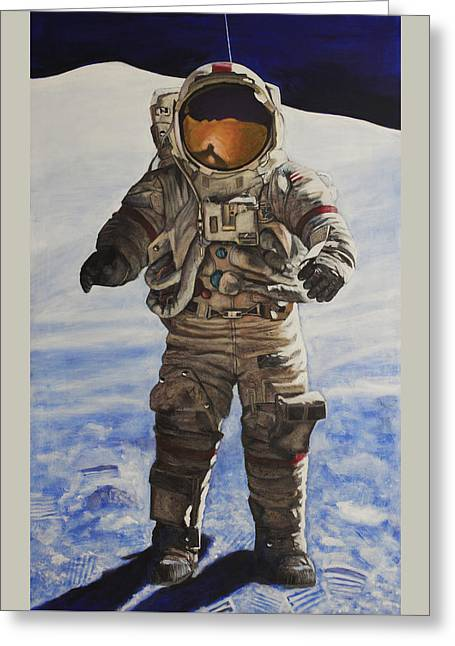 Last Man - Apollo 17 Greeting Card by Simon Kregar