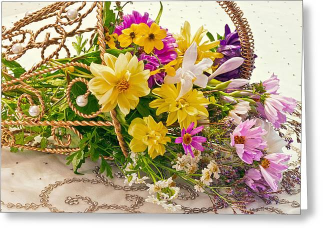 Last Of Summer In Tipped Basket  Greeting Card