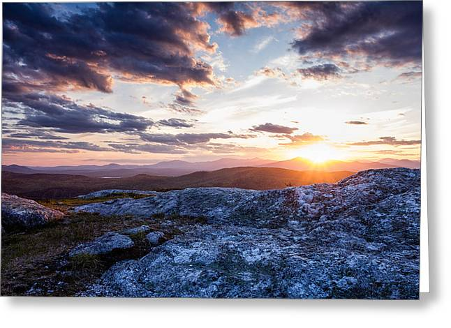 Last Rays. Sunset On Foss Mountain. Greeting Card