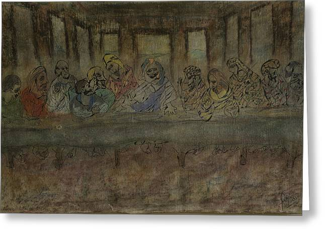 Last Supper Greeting Cards - Last Supper Greeting Card by Jaime Rodriguez-raigoza