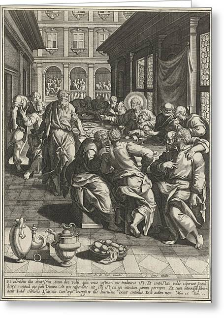 Last Supper, Johann Sadeler I, Anonymous Greeting Card by Quint Lox
