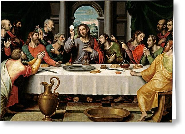 Last Supper Greeting Card by Vicente Juan Macip