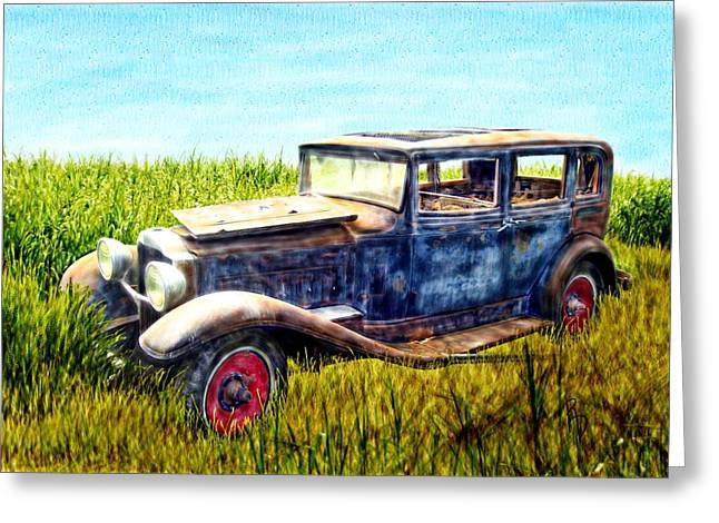 Last Tour For An Old Ford Touring Car Greeting Card