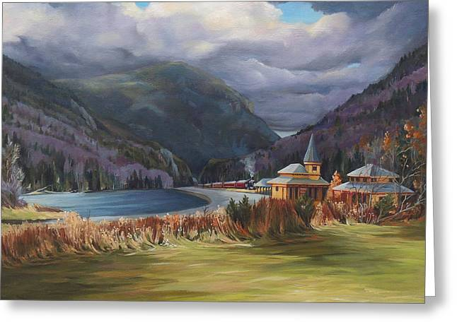 Last Train To Crawford Notch Depot Greeting Card by Nancy Griswold