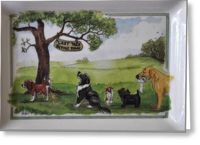 Last Tree Dogs Waiting In Line Greeting Card