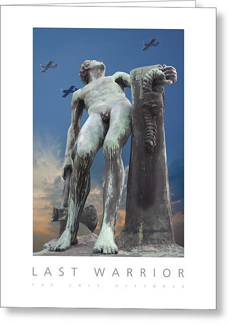 Greeting Card featuring the digital art Last Warrior The Sole Defender Poster by David Davies