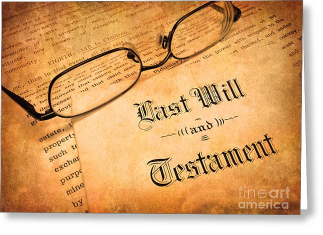 Last Will And Testament Greeting Card by Lane Erickson