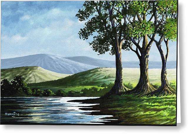 Greeting Card featuring the painting Late Afternoon by Anthony Mwangi