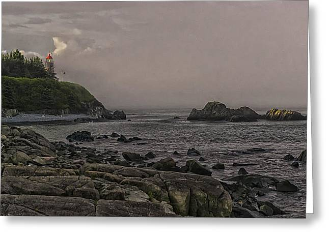 Late Afternoon Sun On West Quoddy Head Lighthouse Greeting Card