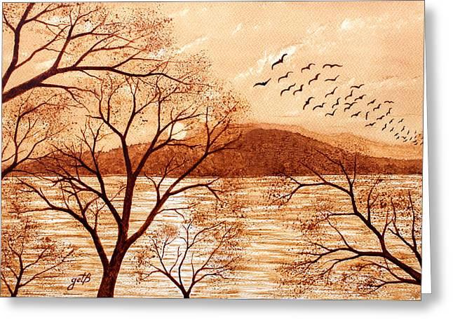 Late Autumn Sunset Original Coffee Painting Greeting Card by Georgeta Blanaru