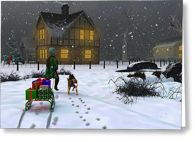 Late Christmas Eve's Visit To Grandma's Greeting Card by Ken Morris